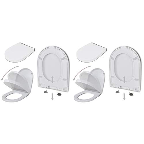 vidaXL 2x Toiletbril met Soft-closedeksel Kunststof Wit Wc-bril Toiletzitting