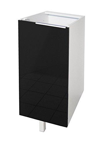 Berlenus CP3BN - Mueble bajo de Cocina con 1 Puerta (30 cm), Color Negro Brillante