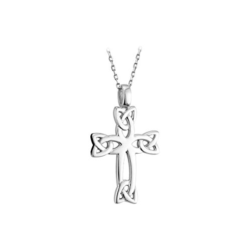 Biddy Murphy Celtic Cross Necklace Trinity Knots Sterling Silver 20 Inches Sturdy Chain Made in Ireland