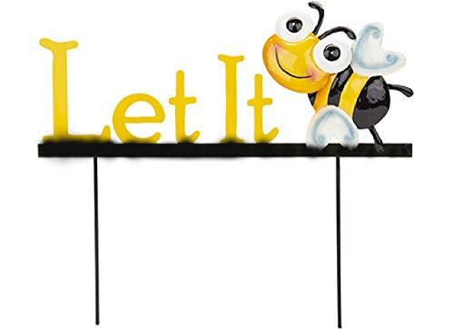 HomestreetUK Let it Bee Garden Sign - Very Cute Yellow and Black Metal Sign with Message and Sweet Smiling Bee (Sign)