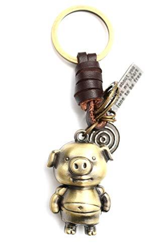 AuPra Funny Pig Leather KeyRing Best Friend Animal Lovers Gift Idea Women & Men Home KeyChain Mum & Dad Teacher Handbag Charm Girl & Boy Car Key Ring Pendant