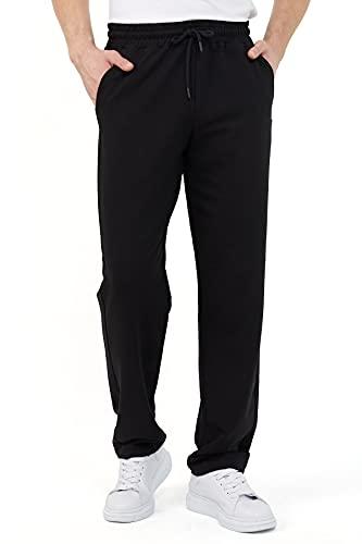 COMEOR Pantalones de chándal para hombre en algodón, pantalones largos de deporte para hombre, pantalones de chándal para hombre, Negro , XXXXL