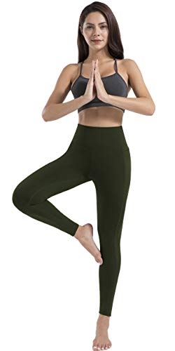 JOYSPELS Women's High Waisted Gym Leggings - Yoga Pants Womens Workout Running Sports Leggings with Pockets - DarkOlive - S