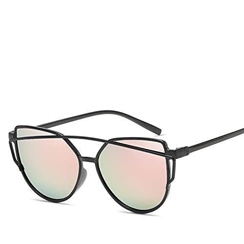 SLAKF Gafas duraderas Moda Gato Ojo Gafas de Sol Mujeres Vigas gemelas Gafas de Sol Hembra Retro Revestimiento Espejo Gafas Plana Panel Lente (Lenses Color : Pink)