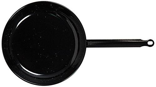 La Valenciana koekenpan, gepolijst staal, plat, 12 cm, enkele handgreep, zwart