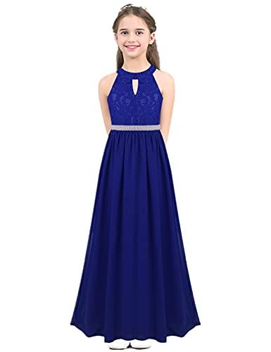 IEFIEL Vestido Largo de Fiesta para Niña Vestido Elegante Encaje de Dama de Honor Vestido Cóctel con Cintura Perlas de Ceremonia