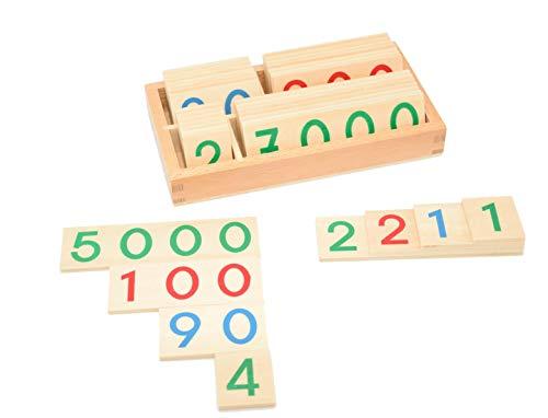 Zahlentafeln, Zahlenkarten 1-9999, 37-teiliges Montessori-Material