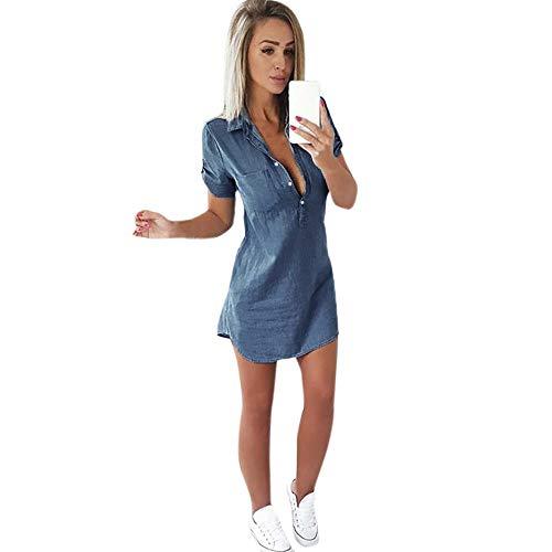 Aniywn Women's Loose Denim Blouse Mini Dress Button Down Lapel Short Sleeve T-Shirt Dress Tops Midi Dress
