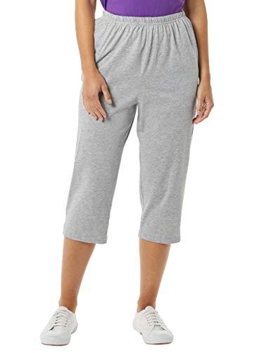 AmeriMark Women's Knit Capris – 100% Cotton Pants with Stretch Elastic Waist Heather Gray XL