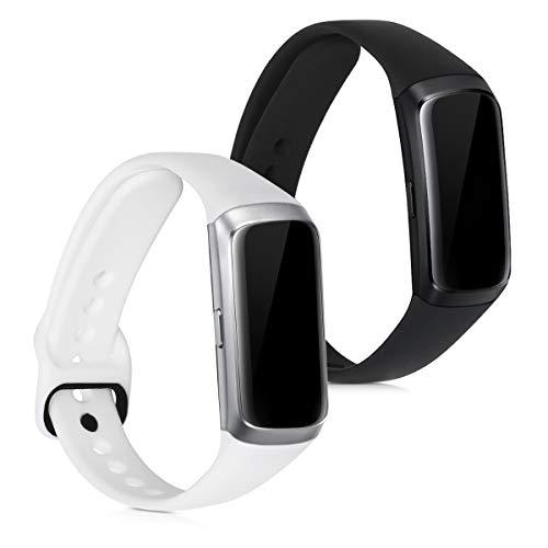 kwmobile 2X Brazalete Compatible con Samsung Galaxy Fit (SM-R370) - Pulsera de Silicona Blanco/Negro sin Fitness Tracker