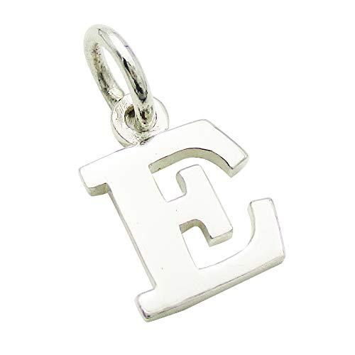 小さなアルファベットのチャーム (1) 「E」 ステンレスチェーンセット ゴシック体 ネックレス シルバー925 60cm
