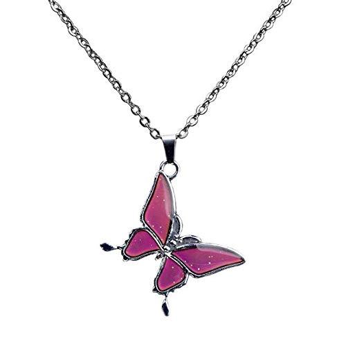 Preisvergleich Produktbild VOANZO Anhänger Halskette Thermochrome Halskette Halskette aus rostfreiem Stahl in Schmetterlingsform