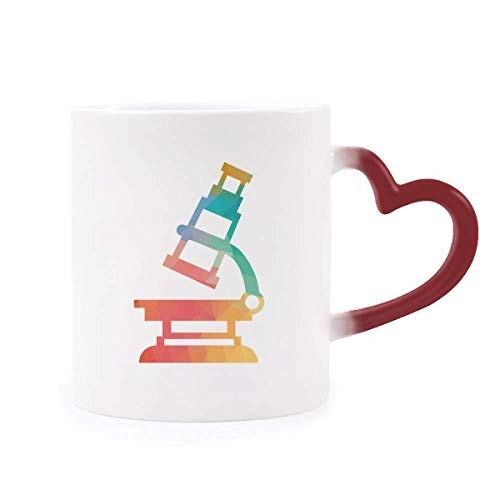 DIYthinker Cartoon Microscope Chemie Patroon Morphing Mok Warmte Gevoelige Rood Hart Cup Multi kleuren