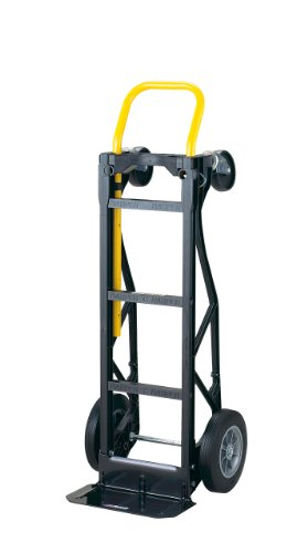 "Harper Trucks PGDY8635P 700 lb Capacity Glass Filled Nylon Convertible Hand Truck and Dolly with 10"" Flat-Free Solid Rubber Wheels,Black with Yellow Handle"