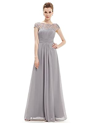 Ever-Pretty Womens Cap Sleeve Lace Neckline Ruched Bust Evening Gown 14 US Grey