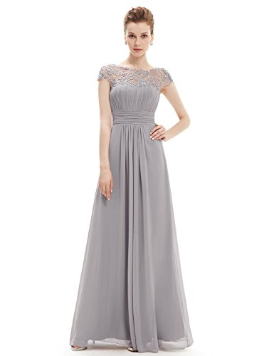Ever-Pretty Womens Plus Size Cap Sleeve Lace Neckline Ruched Bust Evening Gown 20 US Grey
