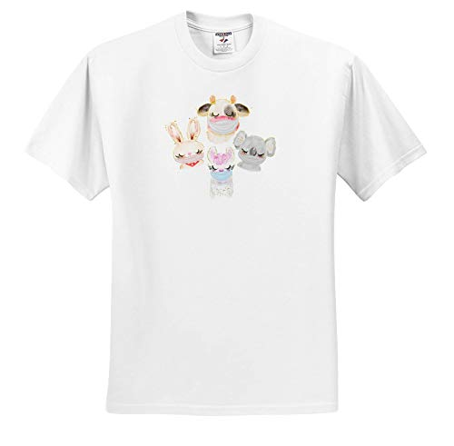 3dRose AMansMall Coronavirus Pandemic - Animal Friends Wearing Mask Watercolor Design, 3DRAMM - Toddler T-Shirt (4T) (ts_342308_17) White