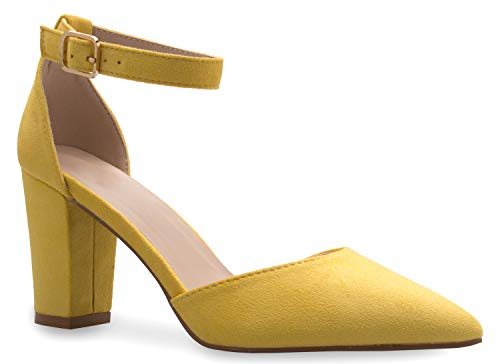 Olivia K Women's Sexy D'Orsay Ankle Strap Pointed Toe Block Heel Pump - Classic, Comfortable Mustard
