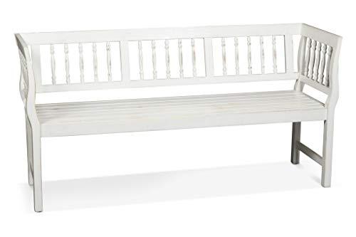 LANTERFANT 7434049271283 Gartenbank Daan, Gartenmöbel, Dreisitzer, Akazien Holz, Erhältlich in Zwei Farben, lackiert, Vintage Weiß