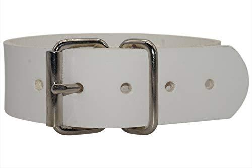 Leder Befestigungsriemen aus Blankleder mit Rollschnalle, Fixierriemen, Farbe:weiß, Größe:5cm...