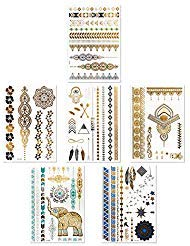 Boho Metallic Waterproof Temporary Tattoos: Flash Gold and Silver Small/Large Fake Tattoos for Girls - Rub On Temp Tattoo Pack - Adult Temporary Tattoos for Face, Neck, Arm - 6 Henna Tattoo Sheets