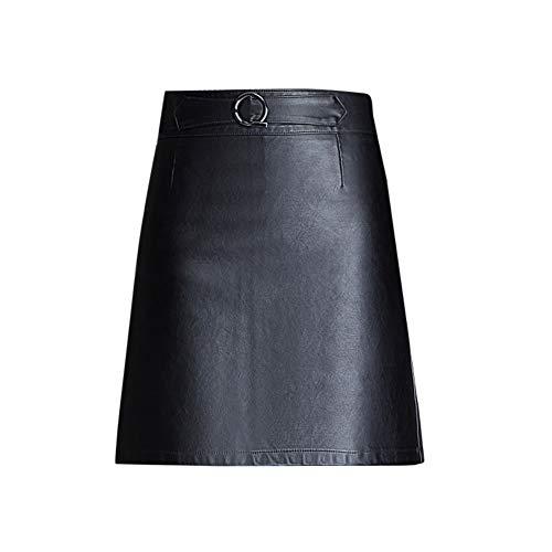 Valin V3512 - Minifalda de piel sintética para mujer Negro 42