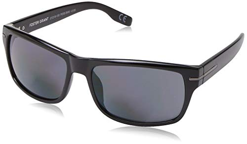 Foster Grant Men's Senate Square Reading Sunglasses, Black/Transparent, 57 mm + 1.75