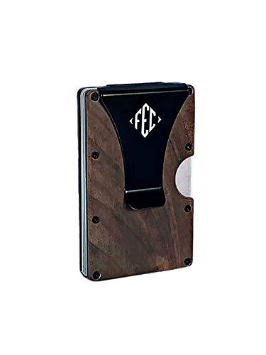 RFID Tarjetero Hombre - Cartera de Madera Minimalista con Clip de Aluminio y Hierro - FEC