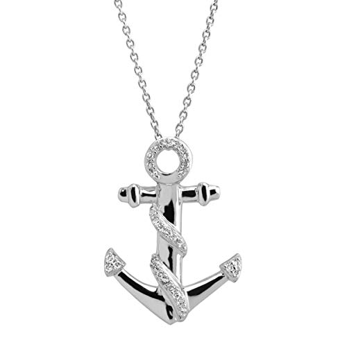 1/10 ct Diamond Anchor Twist Pendant Necklace in Sterling Silver