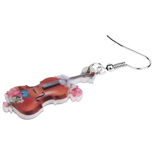 XUBB Acryl antike Blumen Violine Geige Ohrringe Instrument Drop Schmuck für Frauen Mädchen Teen Kid Charm Dekoration Geschenk