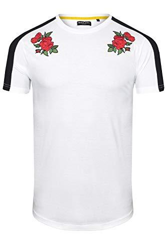 Brave Soul - Maglietta da uomo con stampa di rose, colore: bianco e nero, taglie S-XL bianco Small|petto 91/97 cm