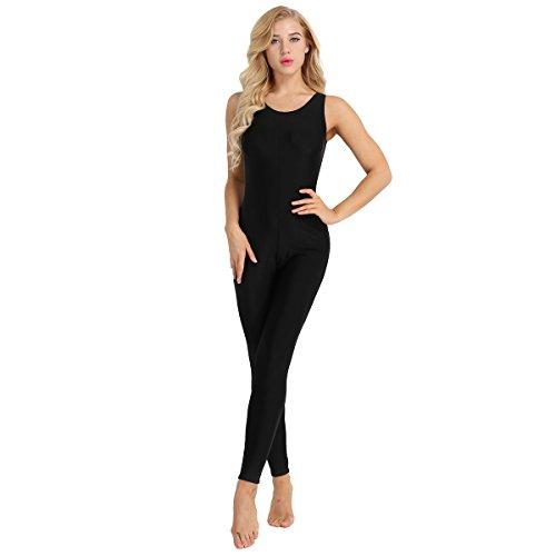 TiaoBug Mono de Danza para Mujer Maillots Conjunto de Gimnasia Ejercicios Traje Deportivo Bodysuit Unitard Elástico para Chicas Mujeres XL 2XL Negro S