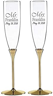 Kate Spade Simply Sparkling Gold Set of 2, Custom Wedding Flutes, Personalized Champagne Glasses, Engraved Wedding Glasses