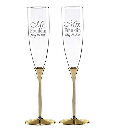 Kate Spade Simply Sparkling Gold Personalized Wedding Champagne Flutes, Set of 2 Custom Engraved Champagne Glasses for Bride and Groom