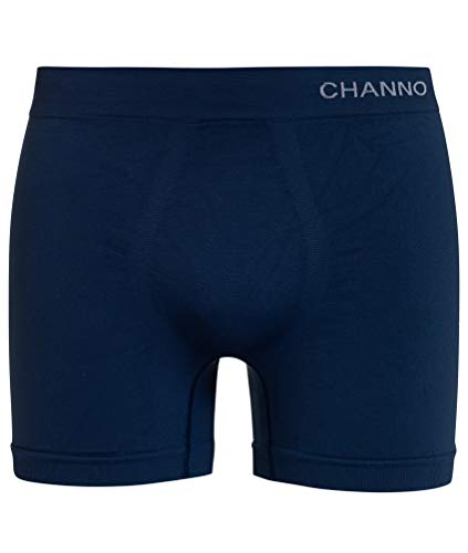 Channo Boxer Deportivo para Hombre Calzoncillo de Licra Maximum Performance Active Series (Liso Azul Oscuro, XL)