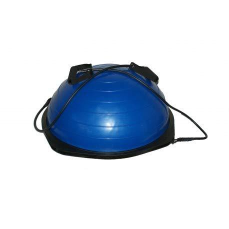Mugar Semiesfera de Equilibrio con Correas de Resistencia –BOS UP Balance Trainer Fitball – Media Bola Fitness Pilates, Azul, 46x46X10cm (ØxA)