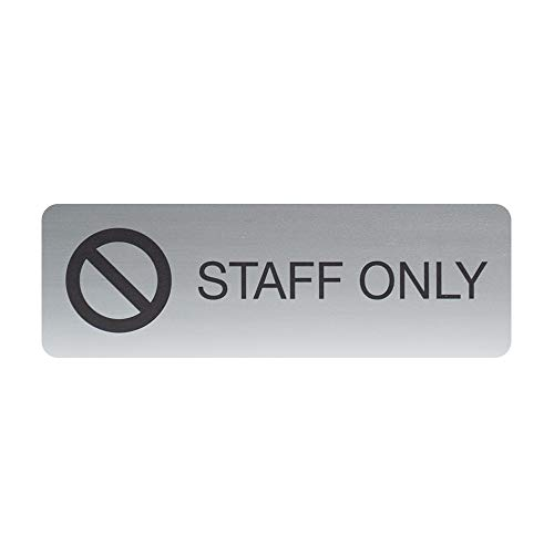 """SBLABELS Staff Only Indoor Easy Adhesive Mount Door and Wall Sign for Restaurants and Small Businesses 3"""" x 9"""" - Silver"""