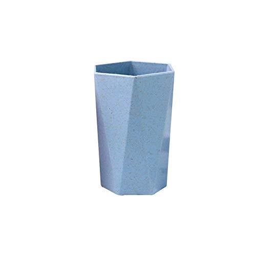 Zahnbürstenbecher - Kreativer Rhombus Weizenstroh Zahnbürstenhalter Tasse Badezimmer Waschbecher Zahnpasta Organizer Wasserbecher Tragbar für Reisen - Blau