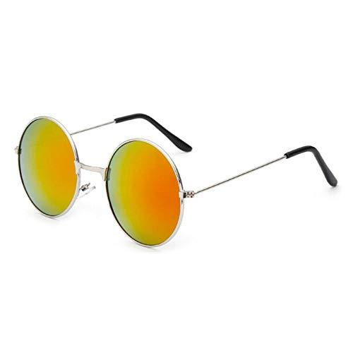 Gafas De Sol para Mujer Gafas De Sol Redondas Retro Oro Plata Marco Negro Gafas Unisex Mujer Hombre Gafas De Sol para Hombres Silverred