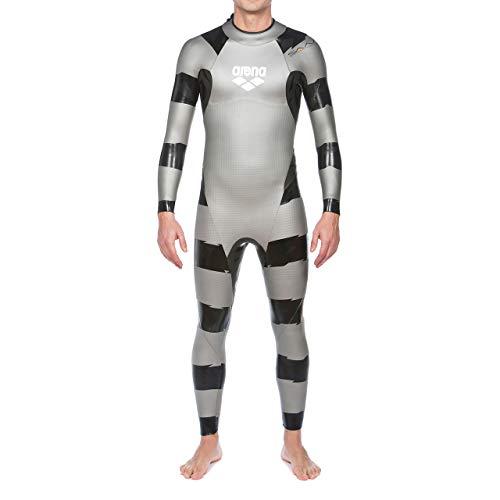 arena Herren Profi Wettkampf Triathlon Neoprenanzug SAMS Carbon (Optimale Wasserlage und Bewegungsfreiheit), Silver-Black (55), XL