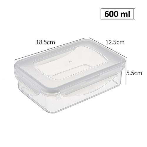 Plastique Crisper réfrigérateur Micro-Ondes de Stockage Boîte à Lunch rectangulaire Sealed Boîte résistant à la Chaleur des Aliments Boîte de Rangement ZHANGGUOHUA (Color : Clear, Size : 600ml)