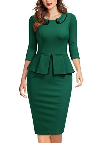 Miusol Negocios Peplum Lápiz Cuello Cóctel Vestido para Mujer Verde Medium