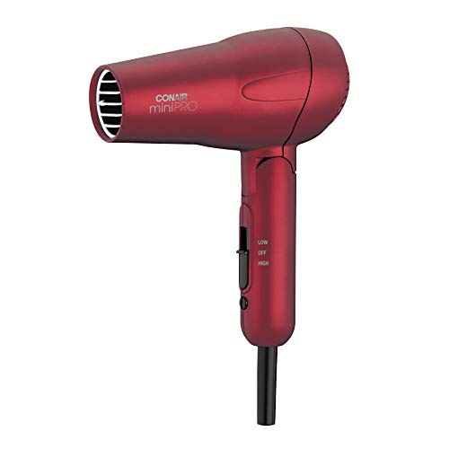 Conair miniPRO Tourmaline Ceramic Travel Hair Dryer with Folding Handle, Red