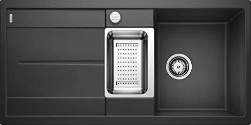 BLANCO METRA 6 S – Rechteckige Granitspüle für die Küche – für 60 cm breite Unterschränke – Mit Restebecken und Edelstahlschale – aus SILGRANIT – Grau – 513053