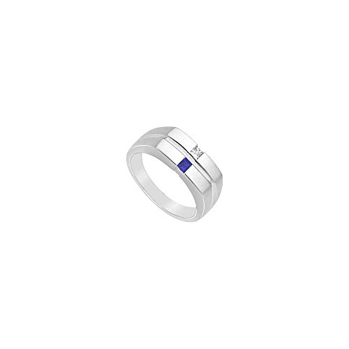 Photo of Mens Diamond and Sapphire Ring 14K White Gold 0.25 CT TGW