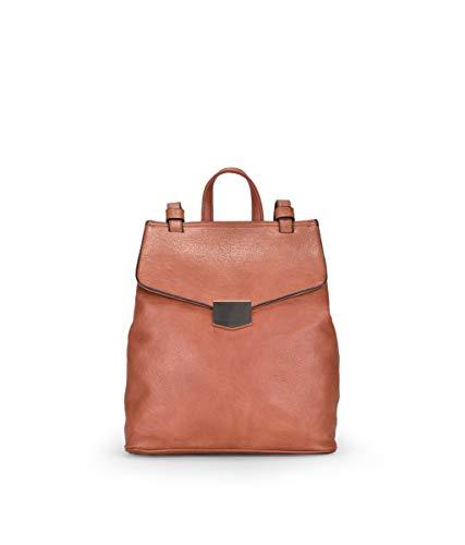 BOSANOVA Quadratischer Rucksack mit Klappe und Metallverschluss, Innenseite mit zwei Fächern, Verschluss mit Knopf und Reißverschluss für Damen, - Leder - Größe: Einheitsgröße