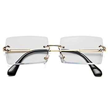 Rectangle Sunglasses for Men/Women Small Rimless Square Shade Eyewear  Clear