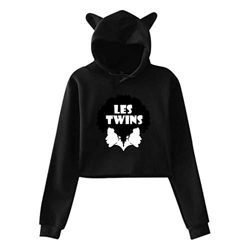 OJPOGHU Les Twins Women Girl Cat Ear Hoodie Sweater Exposed Navel Hoodie Pullover Black