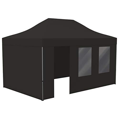 Vispronet Profi Faltpavillon Basic 3x4,5 m in Schwarz, Stahl-Scherengitter, 4 Seitenteile - Davon 1 Wand mit Tür & Fenster (weitere Farben & Größen)