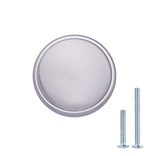 AmazonBasics - Schubladenknopf, Möbelgriff, modern, mit großer runder Platte oben, Durchmesser: 3,85 cm, Satinierter Nickel, 25er-Pack
